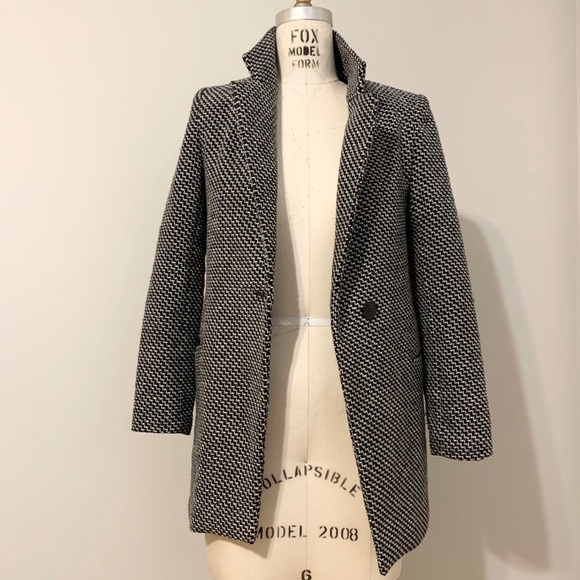 Style Fashion Jackets & Blazers - Jacquard Textured Blazer Coat with faux fur lining
